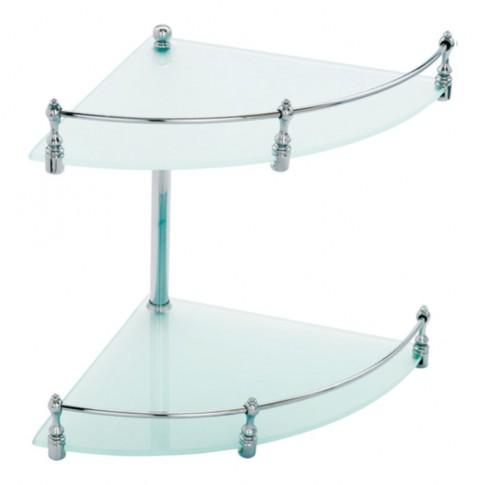 Etajera pentru baie din sticla 1193, montaj pe colt, cu doua rafturi, 27 x 25 x 24 cm