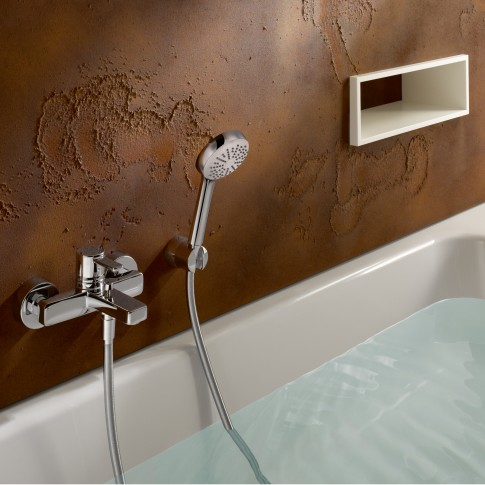 Baterie baie pentru cada / dus, Kludi Zenta 386700575, montaj aplicat, monocomanda, finisaj cromat