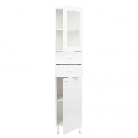 Dulap baie pe sol, 2 usi, cu sertare, Martplast MN 002, alb, deschidere pe dreapta, 164 x 35 cm