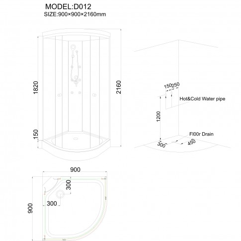 Cabina dus cu hidromasaj ANS - D012, 90 x 90 x 216 cm