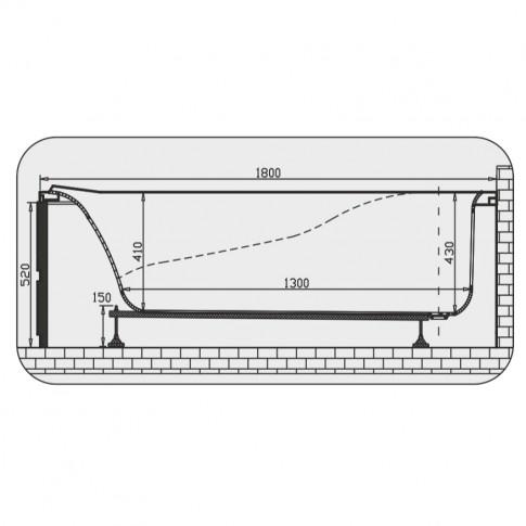 Cada baie rectangulara Martplast Melbourne, acril, 180 x 80 cm