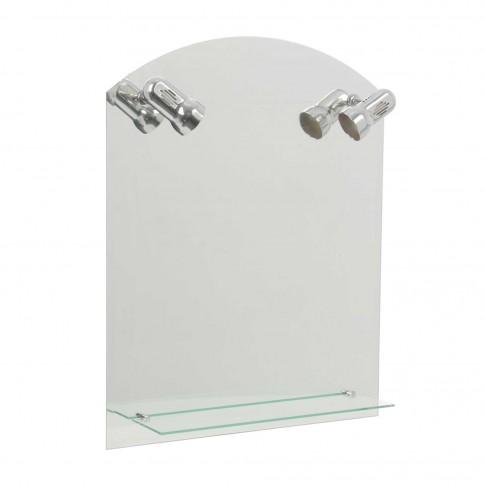 Oglinda baie Class Mirrors O39 (A18), cu iluminare, 60 x 80 cm, 1 etajera