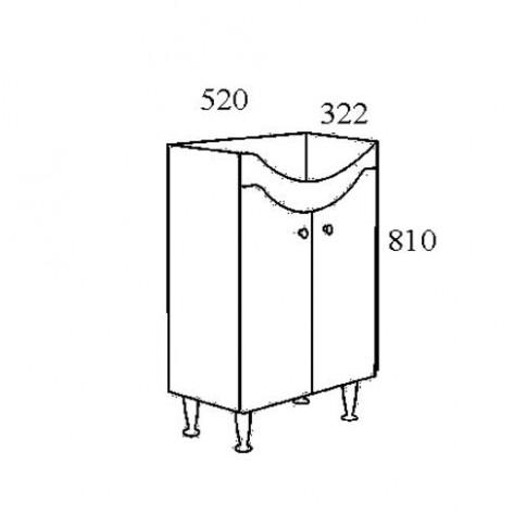Masca baie pentru lavoar, Arthema Eco 1055/P - A2, cu usi, alba, 52 x 32.2 x 81 cm