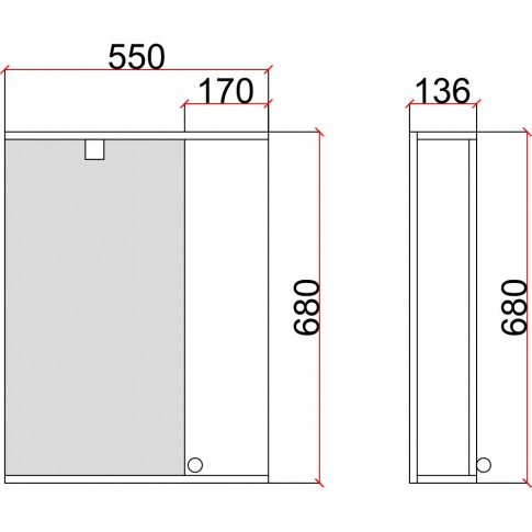 Dulap baie cu oglinda, iluminare si polita, 1 usa, dreapta, Martplast Eco, alb, 55 x 13.6 x 68 cm