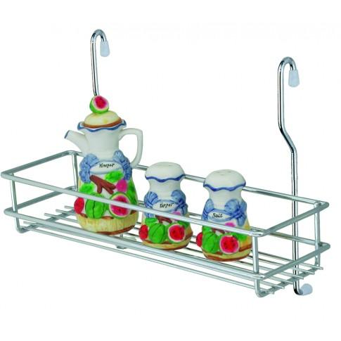 Suport bucatarie, pentru recipiente condimente, 4008, metal, 35 x 14 x 21.5 cm