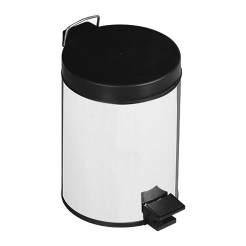 Cos gunoi Lider 713 din inox + PP, forma cilindrica, cromat, cu pedala si capac batant, 3L