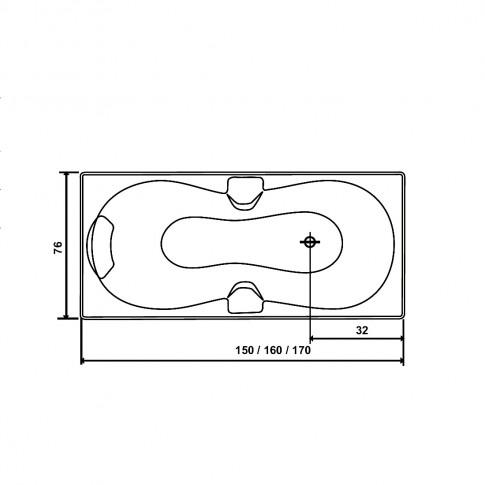Cada baie cu hidromasaj rectangulara, Andra, masca inclusa, acril, 160 x 76 cm