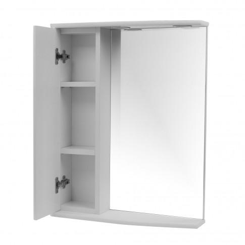 Dulap baie cu oglinda, iluminare si polita, 1 usa, stanga, Jamaica, 56 x 15 x 73 cm