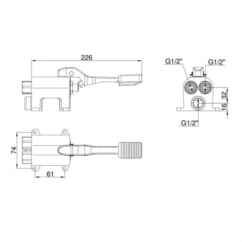 Baterie baie pentru lavoar, cu pedala, 238-1/2-2070