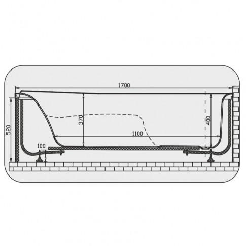 Cada baie rectangulara Martplast Osaka, acril, 170 x 70 cm