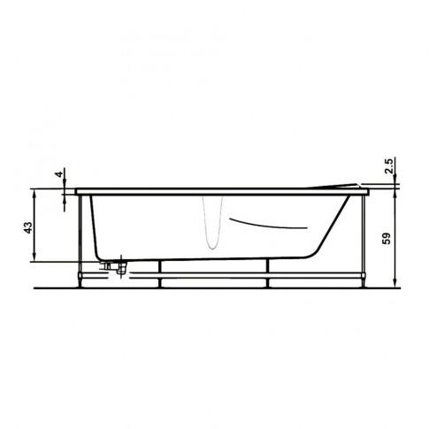 Cada baie rectangulara West Andra, masca frontala si suport incluse, acril, 170 x 76 cm