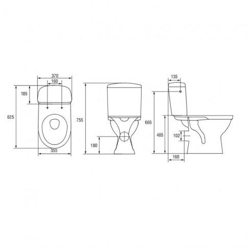 Set vas WC + rezervor + mecanism + capac Cersanit Roma  R02-019, din portelan, 37 x 75.5 x 62.5 cm