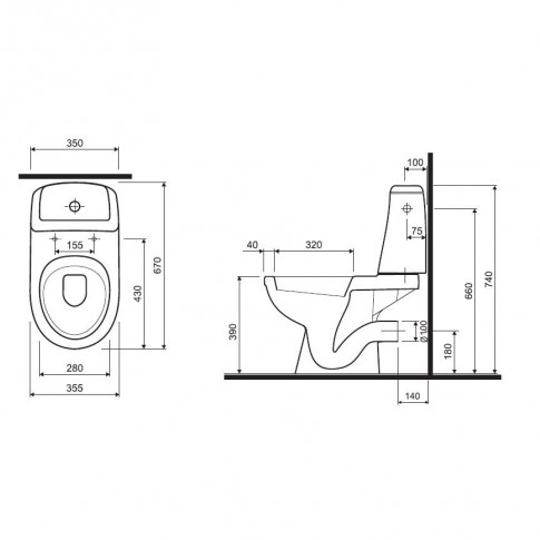Set vas WC + rezervor + mecanism + capac Kolo Solo 79218, din portelan, 35.5 x 74 x 67 cm