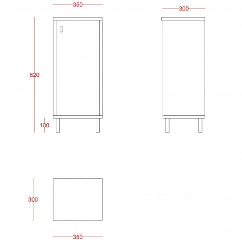 Dulap baie pe sol, 1 usa, Martplast Larissa, alb / wenge, deschidere pe dreapta, 82 x 35 cm