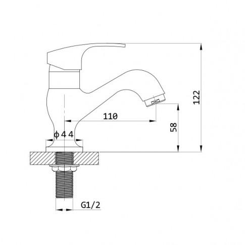 Baterie baie pentru lavoar, 15201, apa rece, montaj stativ, monocomanda, finisaj cromat