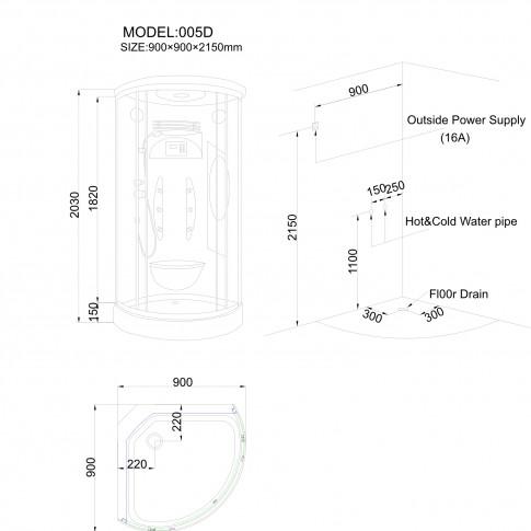 Cabina dus cu hidromasaj ANS-005D, 90 x 90 x 203 cm