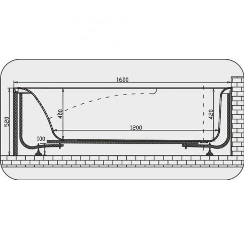 Cada baie cu hidromasaj rectangulara, Martplast Milano, acril, 160 x 70 cm