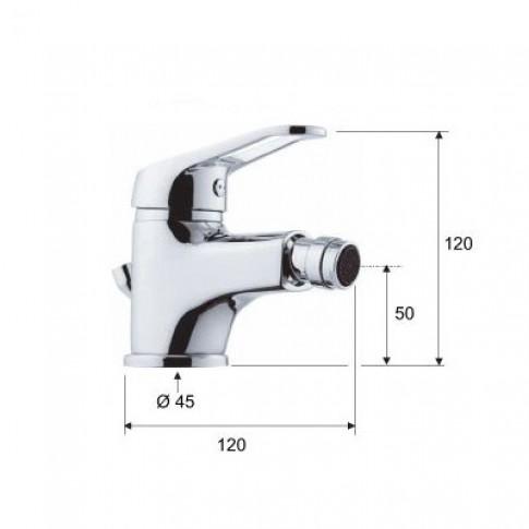 Baterie baie pentru bideu Remer Remix R20, cu ventil, monocomanda, finisaj cromat