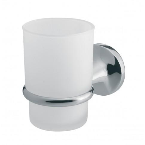 Pahar baie pentru igiena personala, cu suport, Bisk Ontario BIS00226, sticla, prindere pe perete