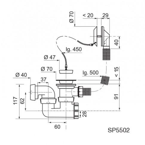 Ventil pentru cada, Wirquin SP5502, cu preaplin, dop, lant, sifon, 50 cm
