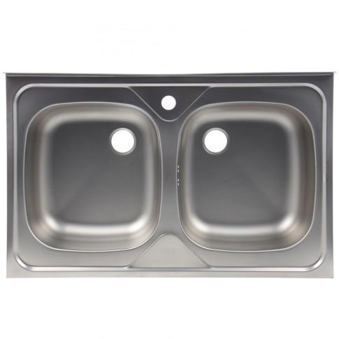Chiuveta bucatarie inox leinen Alveus Compact 20 7366 5066 cuva dubla 80 x 50 cm