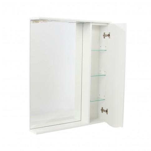 Dulap baie cu oglinda, iluminare si polita, 1 usa, dreapta, Arthema Geo 121 - DINA2, alb, 69.5 x 15.5 X 87 cm