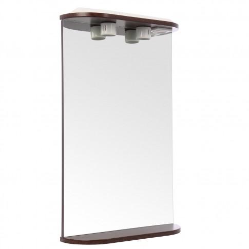 Oglinda baie cu iluminare si polita, Martplast 550, wenge, 51 x 84 x 15 cm
