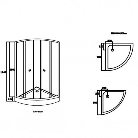 Pachet cabina dus + cadita + panel hidromasaj Kadda, 80 x 80 x 194 cm
