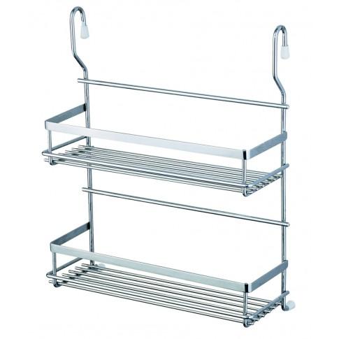Suport bucatarie, pentru recipiente condimente, 4010, 2 etajere, metal, 32 x 13 x 46 cm