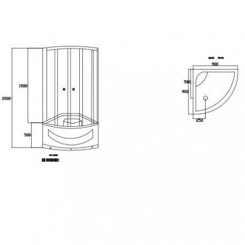 Pachet cabina dus + cadita dus + panel hidromasaj, Kadda, 90 x 90 x 200 cm