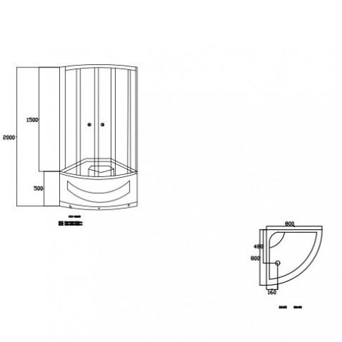 Pachet cabina dus + cadita dus + panel hidromasaj, Kadda, 80 x 80 x 200 cm