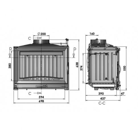 Focar semineu Chazelles D70, din fonta, 9.5 kW, 69.8 x 63.8 x 43.7 cm