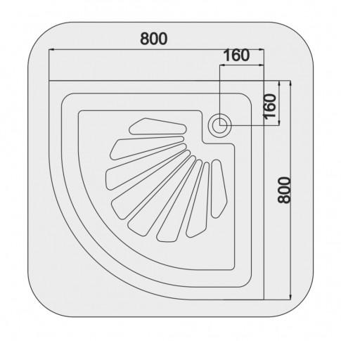 Cadita dus semirotunda Martplast, acril, 80 x 80 x 15 cm