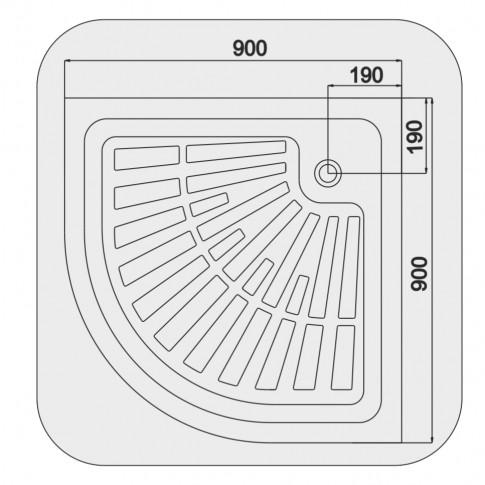 Cadita dus semirotunda Martplast, acril, 90 x 90 x 14 cm