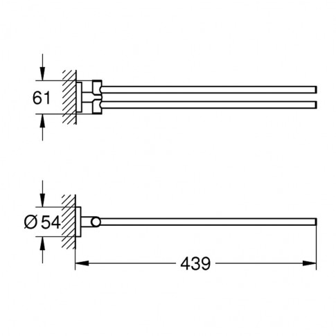 Suport prosop baie Grohe Essentials 40371001, mobil, cu doua brate, 43.9 x 6.1 cm