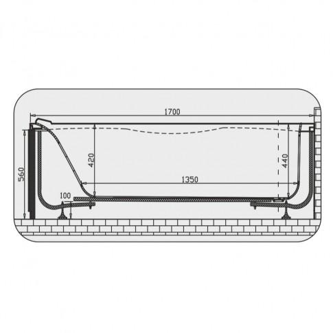 Cada baie rectangulara Martplast Geneva, acril, masca frontala si suport incluse, 170 x 70 cm