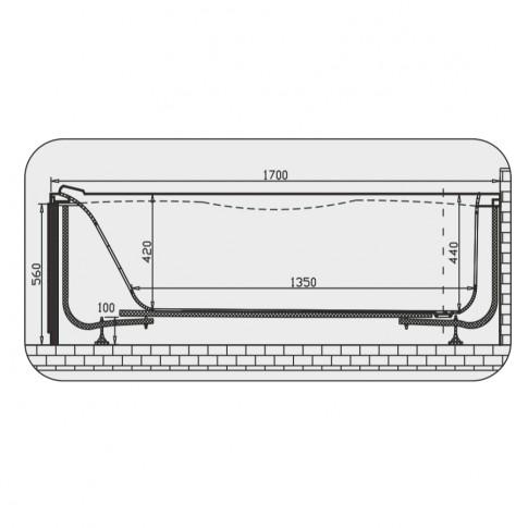 Cada baie rectangulara Martplast Geneva, acril, 170 x 70 cm