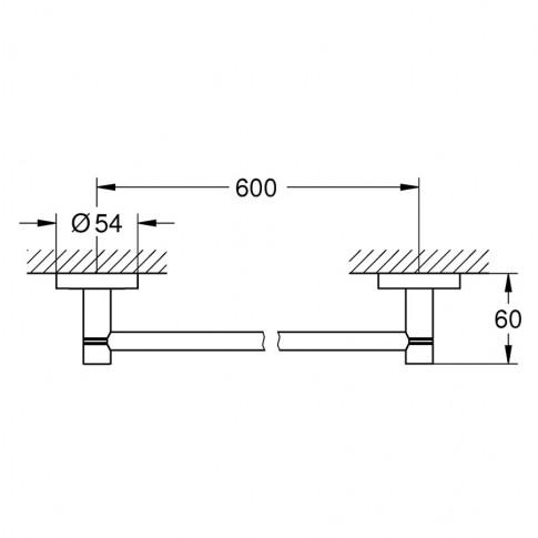 Suport prosop baie Grohe Essentials 40366001, tip bara, 60 x 6 cm