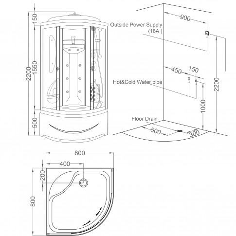 Cabina dus cu hidromasaj FD-S3 80C, 80 x 80 x 210 cm