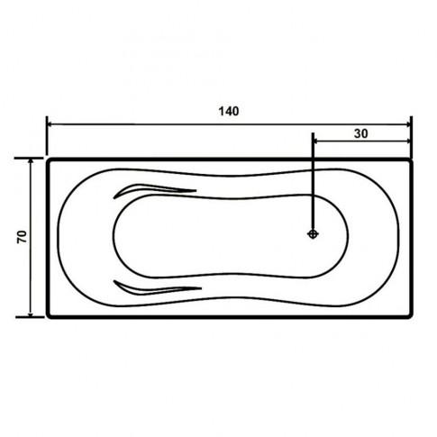 Cada baie rectangulara West Paula, acril, masca si suport incluse, 140 x 70 cm