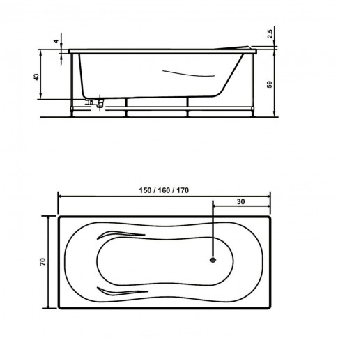 Cada baie cu hidromasaj rectangulara, West Pacific, acril, 170 x 70 cm