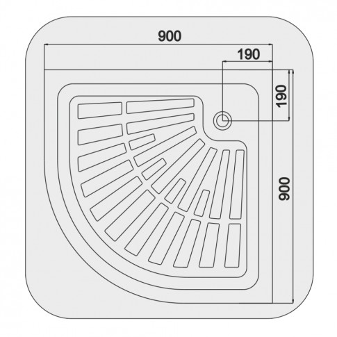 Cadita dus semirotunda Martplast, acril + poliuretan, 90 x 90 x 15 cm
