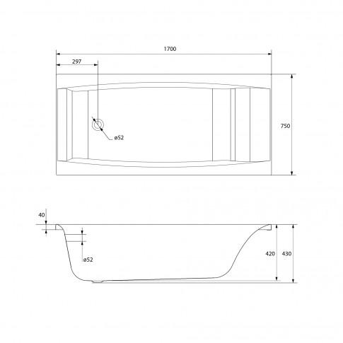 Cada baie rectangulara Cersanit Virgo S301-045, acril, 170 x 75 cm