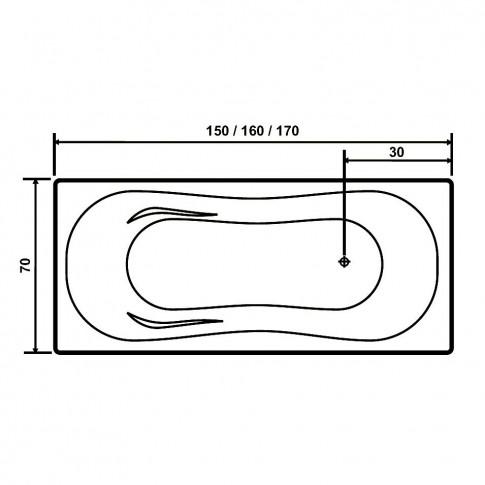 Cada baie rectangulara West Pacific, acril, 170 x 70 cm