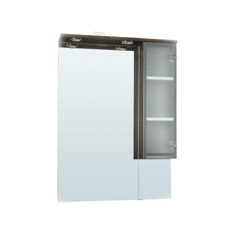 Dulap baie cu oglinda si iluminare, 1 usa, dreapta, Sevilla, wenge, 68 x 15 x 93 cm