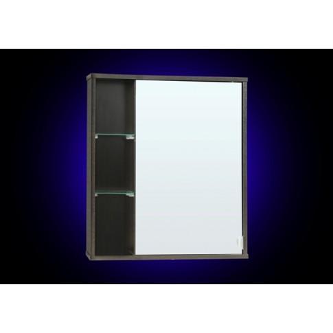 Dulap baie cu oglinda si polite, Siro, 1 usa, dreapta, wenge, 60 x 15 x 68 cm