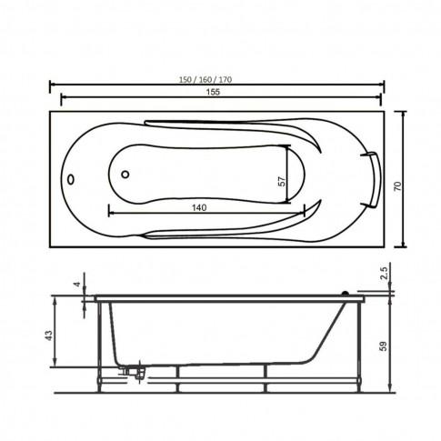Cada baie rectangulara West Afrodita, masca si suport incluse, acril, 160 x 70 cm