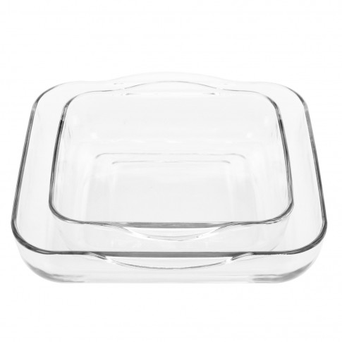 Bol Borcam pentru servirea mesei, set 2 bucati, sticla termorezistenta, transparent, 28 x 28 cm / 22 x 22 cm, 3500 ml / 2000 ml