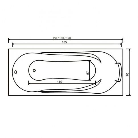 Cada baie rectangulara West Afrodita, masca si suport incluse, acril, 150 x 70 cm