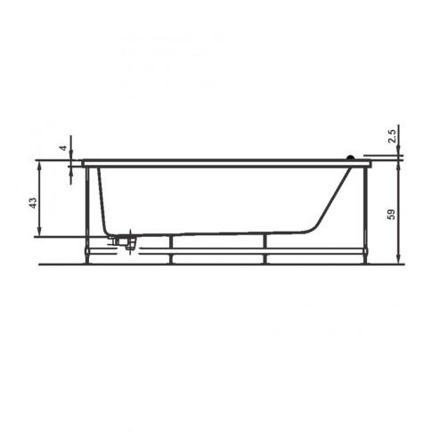 Cada baie rectangulara West Afrodita, masca si suport incluse, acril, 170 x 70 cm